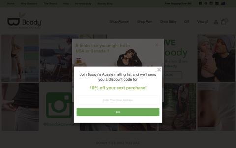 Screenshot of Home Page boody.com.au - Organic Bamboo Eco Wear – Boody Australia - captured Nov. 22, 2016