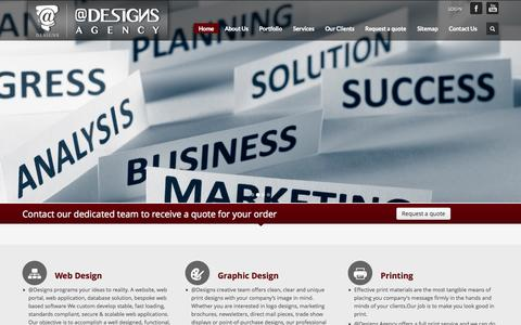 Screenshot of Home Page a-designs.net - @Designs Agency - captured Oct. 7, 2014
