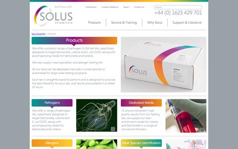 Screenshot of Products Page solusscientific.com - Product range of proven technology simple practicable affordable - captured Aug. 14, 2016
