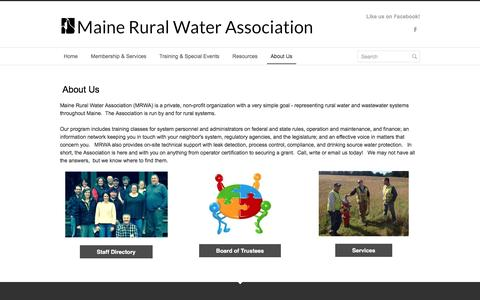 Screenshot of About Page mainerwa.org - About Us - Maine Rural Water Association - captured Nov. 17, 2016