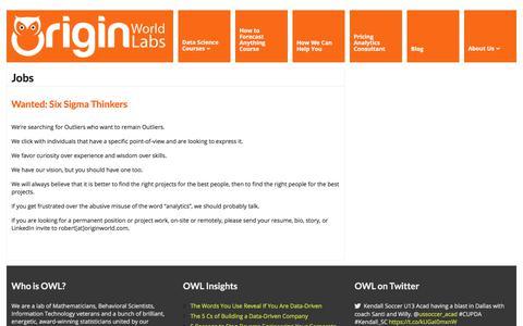 Screenshot of Jobs Page originworld.com captured Nov. 3, 2017