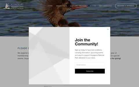 Screenshot of Signup Page voyageurs.org - Become A Member! — Voyageurs National Park Association - captured Oct. 19, 2018