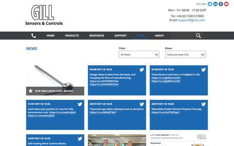 Screenshot of Press Page gillsc.com - News » Gill Sensors & Controls - Sensors for demanding environments - captured Aug. 4, 2017