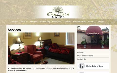 Screenshot of Services Page oakparkmanor.net - Services » Oak Park Manor - captured Dec. 6, 2016
