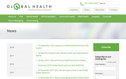 Screenshot of Press Page global-health.com - Global Health - Global Health | News and Updates - captured Sept. 28, 2018