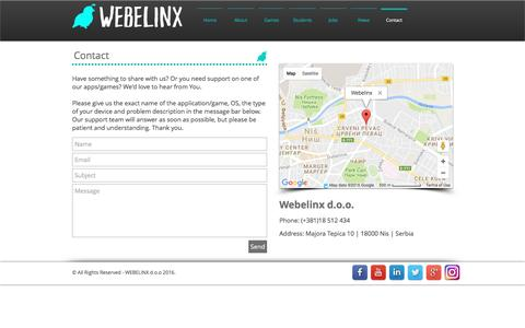Screenshot of Contact Page webelinx.com - Webelinx | Contact - captured Aug. 18, 2016