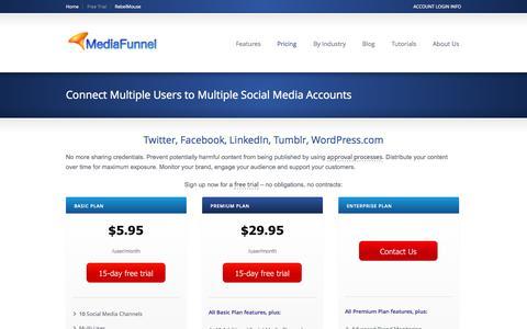 Screenshot of Trial Page Pricing Page mediafunnel.com - Social Media Management System Pricing Plans | MediaFunnel - captured Oct. 27, 2014