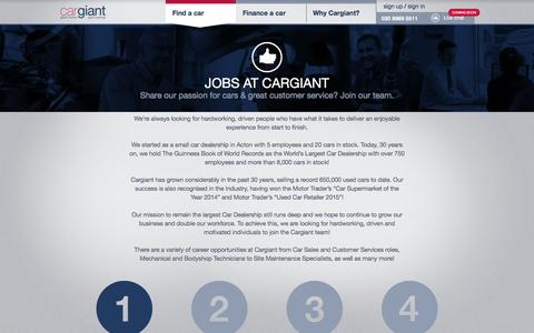 Screenshot of Jobs Page cargiant.co.uk - Jobs at Cargiant - Cargiant - captured July 11, 2016