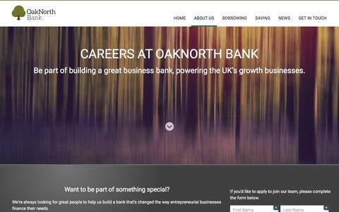 Screenshot of Jobs Page oaknorth.com - OakNorth Bank - Changing the way businesses do banking - captured Feb. 22, 2016