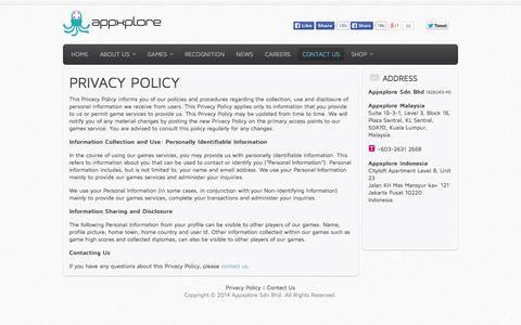 Screenshot of Privacy Page appxplore.com - Privacy Policy - Appxplore | Games Development Studio - captured Sept. 30, 2014