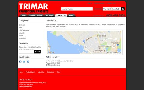 Screenshot of Contact Page trimar.ca - Contact Us - Trimar Promotional Products - captured Nov. 14, 2017