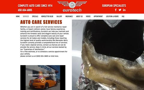 Screenshot of Services Page eurotechco.com - Eurotech | SERVICES - captured July 22, 2018