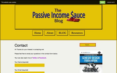 Screenshot of Contact Page passiveincomesauce.com - Contact - Passive Income $auce - captured Nov. 4, 2014