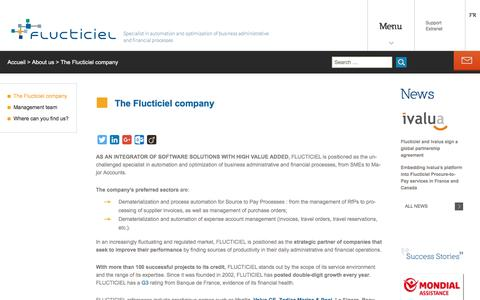 Screenshot of About Page flucticiel.com - AS AN INTEGRATOR OF SOFTWARE SOLUTIONS WITH HIGH VALUE ADDED, FLUCTICIEL - captured Oct. 30, 2016