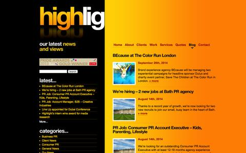 Screenshot of Press Page highlightpr.co.uk - Bath PR agency | Highlight PR - Highlight PR.  Bath-based agency specialising in PR for creative companies - from marketing, event, design and web agencies to licensed characters and innovative products. - captured Sept. 30, 2014