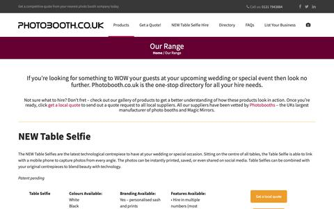 Screenshot of Products Page photobooth.co.uk - Our Range - Photobooth - captured Sept. 28, 2018