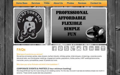 Screenshot of FAQ Page stumptowndjs.com - Stumptown DJs - FAQs - captured Feb. 26, 2016