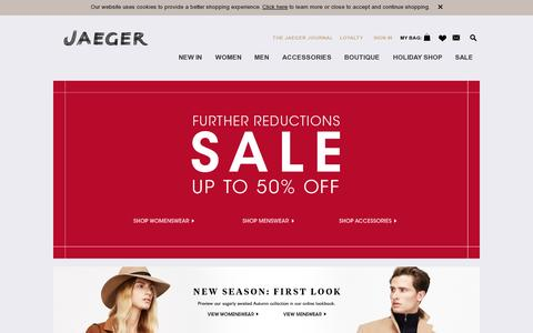 Screenshot of Home Page jaeger.co.uk - British Fashion | Luxury Clothing - Jaeger |Luxury Womens and Mens Formal and Casual Clothing - captured July 11, 2014