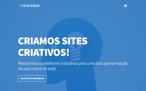 Screenshot of Home Page genialideias.com.br - Agência digital de Desenvolvimento de Sites dinâmicos e personalizável e desenvolvimento de lojas virtuais e prestamos consultoria para e-commerce   Genialideias.com.br - captured Sept. 29, 2014