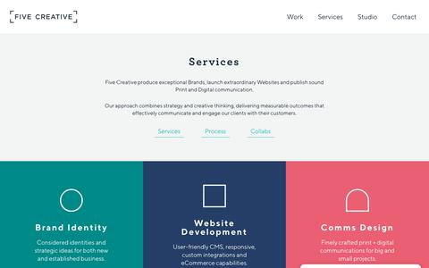 Screenshot of Services Page fivecreative.com.au - Branding, Design and Digital Services - Five Creative - captured Aug. 9, 2018