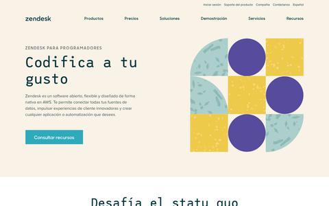 Screenshot of Developers Page zendesk.com.mx - Plataforma para desarrolladores de Zendesk: crea la experiencia del cliente que quieras - captured Nov. 7, 2019