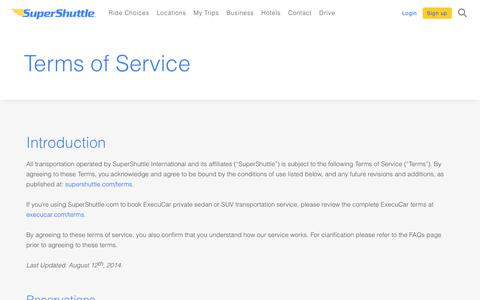 Screenshot of Privacy Page Terms Page supershuttle.com - Terms - SuperShuttle - captured Nov. 7, 2018