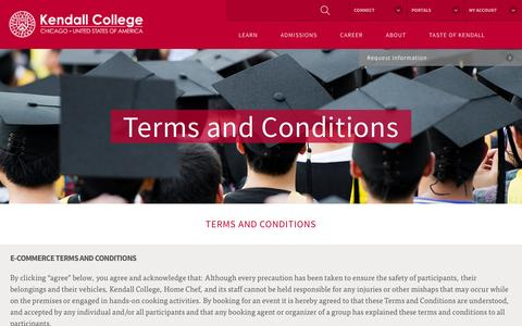 Screenshot of Terms Page kendall.edu - Terms and Conditions - Kendall College - captured Oct. 31, 2014