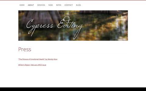 Screenshot of Press Page cypressediting.com - Press | Cypress Editing - captured Dec. 12, 2015