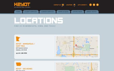 Screenshot of Locations Page keyot.com - Locations - captured Jan. 9, 2016
