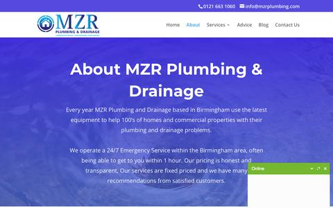 Screenshot of About Page blockeddrainsbirmingham.co.uk - About - MZR Plumbing & Drainage - captured Oct. 1, 2018