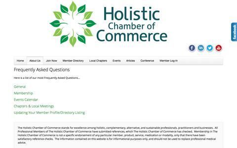 Screenshot of FAQ Page holisticchamberofcommerce.com - Frequently Asked Questions - The Holistic Chamber of Commerce - captured June 25, 2017