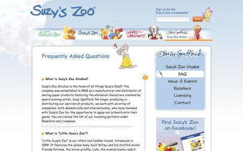 Screenshot of FAQ Page suzyszoo.com - Suzy's Zoo® Official Site | Suzy's Zoo Studios | FAQ - captured June 12, 2016