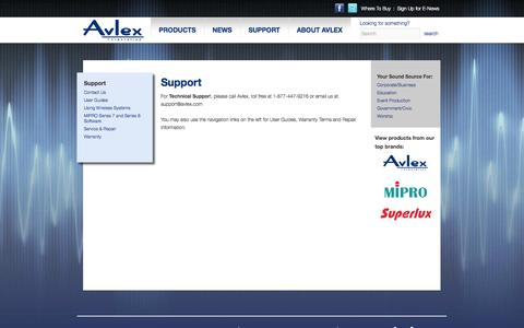 Screenshot of Support Page avlex.com - Customer Support and Service for Avlex, MIPRO & Superlux | Avlex - captured Oct. 4, 2014