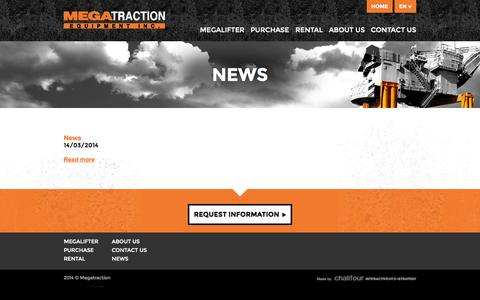 Screenshot of Press Page megatraction.com - News | Megatraction Equipment Inc. - captured Oct. 27, 2014