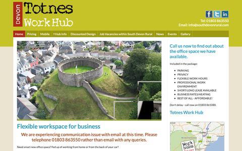 Screenshot of Home Page totnesworkhub.co.uk - Totnes Work Hub - captured Oct. 20, 2018
