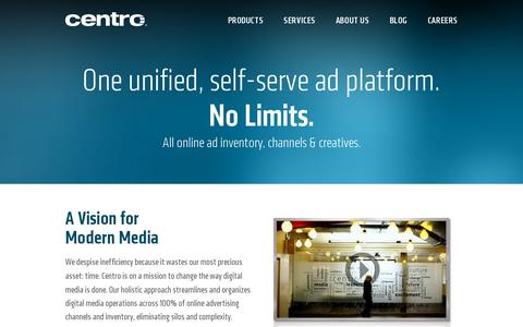 Screenshot of Products Page centro.net - Digital Advertising Products and Software | Centro - captured July 19, 2014