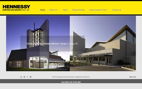 Screenshot of Home Page hcsfl.com - Hennessy Construction Services - captured Oct. 2, 2014