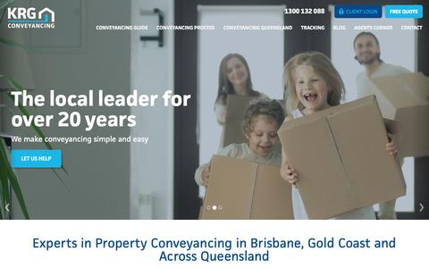 Screenshot of Home Page krg.com.au - Conveyancing Brisbane | Fixed Fair Quotes | KRG Conveyancing - captured Nov. 15, 2018