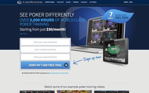 Screenshot of Home Page cardrunners.com - Poker Training, Poker Videos, Learn Poker From Poker Training Videos - captured June 17, 2015
