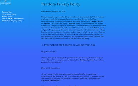 Screenshot of Privacy Page pandora.com - Pandora - Privacy Policy - captured Nov. 13, 2017
