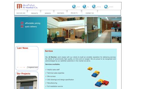 Screenshot of Services Page almanhalco.com.jo - Services - captured Oct. 4, 2014