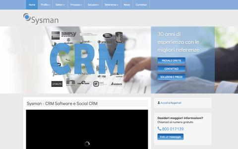 Screenshot of Home Page sysman.it - Sysman - CRM Software e Social CRM - Sysman - captured Aug. 12, 2015