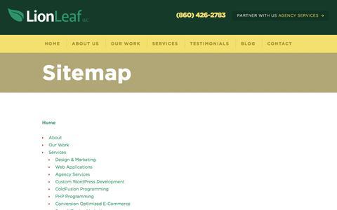 Screenshot of Site Map Page lionleaf.com - Sitemap | LionLeaf, LLC - captured Sept. 26, 2016