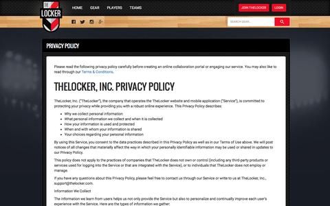 Screenshot of Privacy Page thelocker.com - TheLocker - captured July 4, 2016