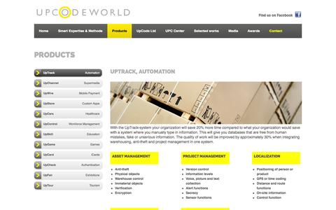Screenshot of Products Page upcodeworld.com - UpCodeWorld - Products - UpTrack, Automation - captured Oct. 6, 2014