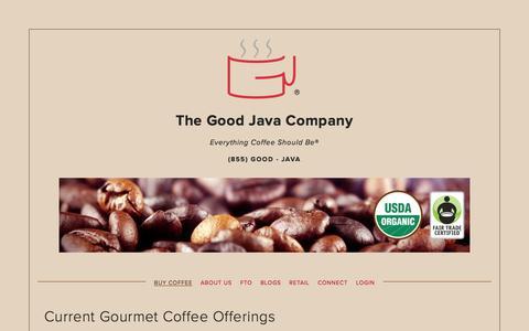 Screenshot of Home Page thegoodjava.com - The Good Java Company - captured Feb. 15, 2016