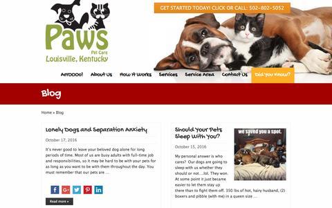 Screenshot of Blog pawspetcareathome.com captured Oct. 28, 2016