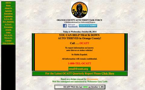 Screenshot of Home Page ocatt.org - Orange County Auto Theft Task Force - captured Oct. 8, 2014