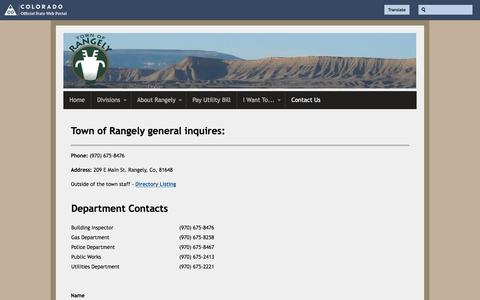Screenshot of Contact Page colorado.gov - Contact Us | Town of Rangely - captured Jan. 23, 2017