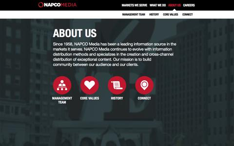 Screenshot of About Page napco.com - NAPCO Media, More Than You Expect - captured Jan. 10, 2016